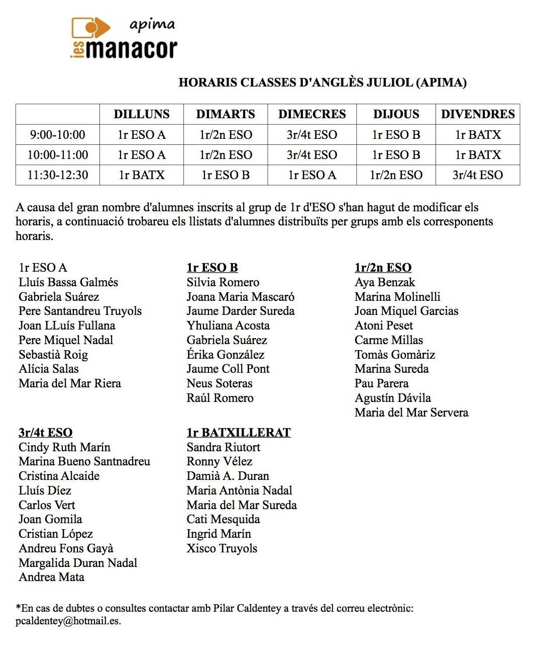 Horari i Grups Anglès. Juliol 2015
