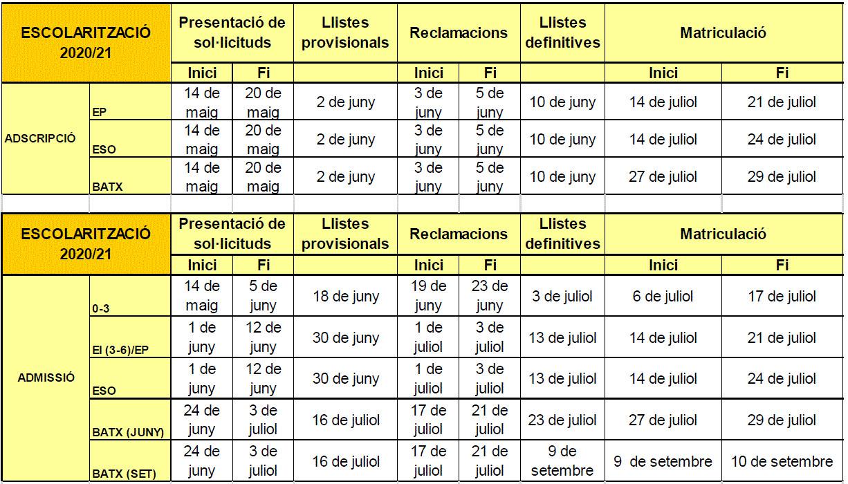 calendari escolaritzacio 20-21