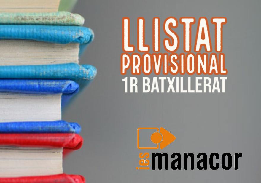 Llistat provisional 1r Batxillerat